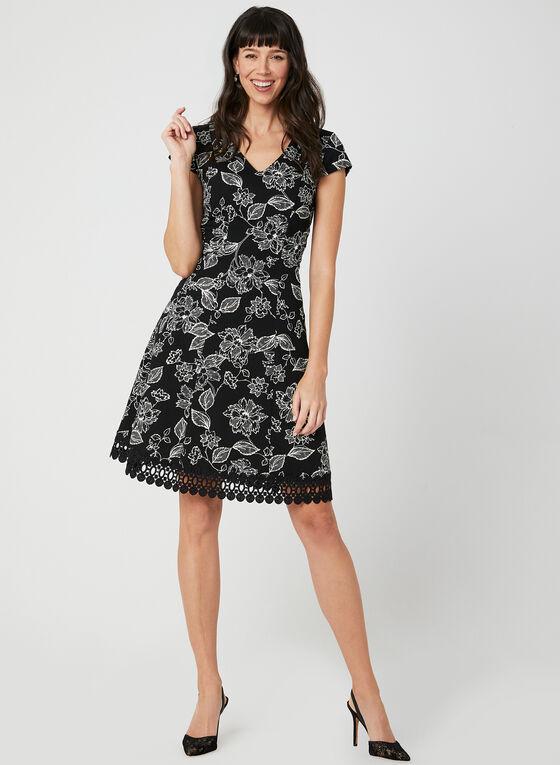 Floral Print Fit & Flare Dress, Black