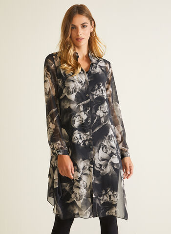 Compli K - Floral Print Button Front Tunic, Black,  tunic, floral, chiffon, button front, shirt collar, fall winter 2020