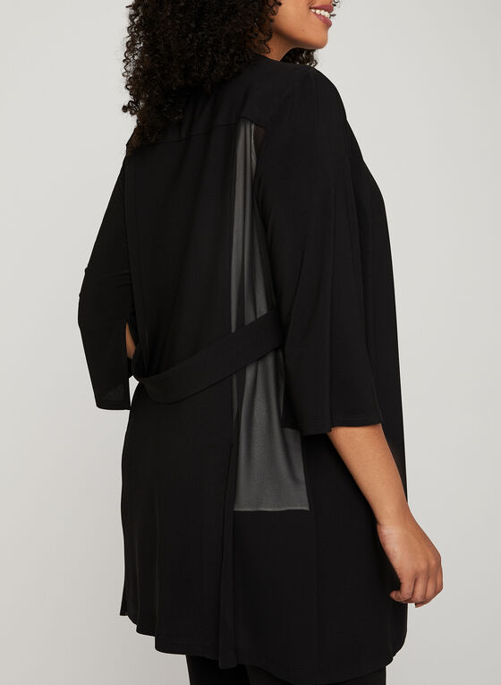 ¾ Sleeve Open Front Cardigan, Black, hi-res