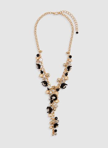 Collier Y avec breloques florales, Noir,  printemps 2019, doré, chaîne