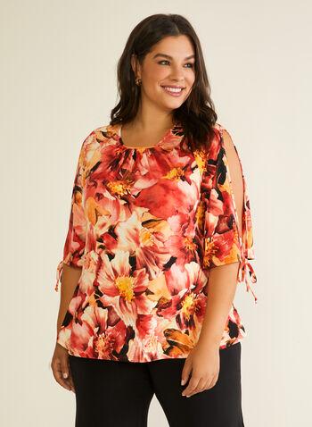 Floral Print Slit Sleeve Top, Orange,  blouse, floral, slit sleeves, tie, 3/4 sleeves, jersey, spring summer 2020
