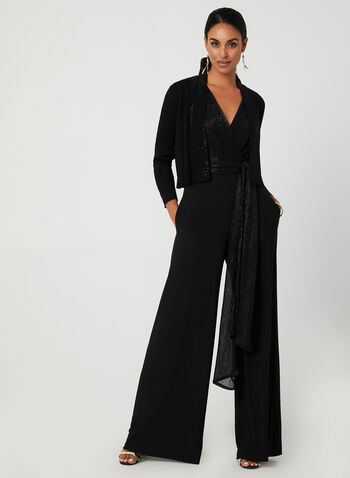 Metallic Wide Leg Jumpsuit, Black,  fall winter 2019, holiday wear, metallic details, wide leg, sleeveless jumpsuit