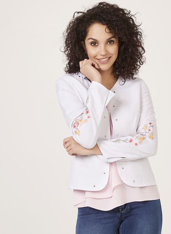 Solid blazer Jackets, White, hi-res