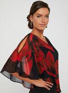 Floral Print Poncho Dress, Black, hi-res