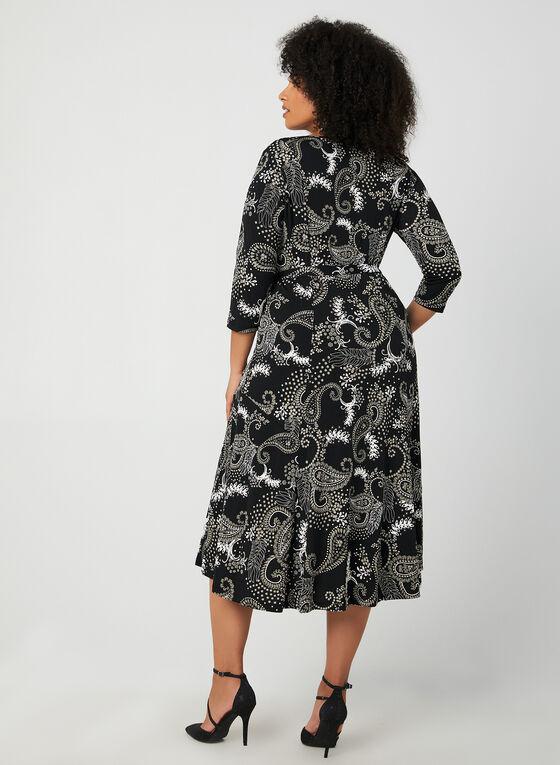 Robe maxi à motif cachemire, Noir