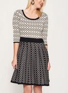 Geometric Print Fit & Flare Dress, Black, hi-res
