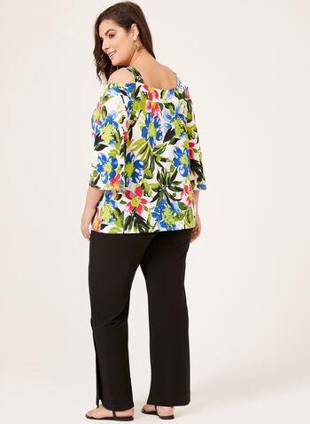 Floral Print Cold-Shoulder Blouse, Multi, hi-res