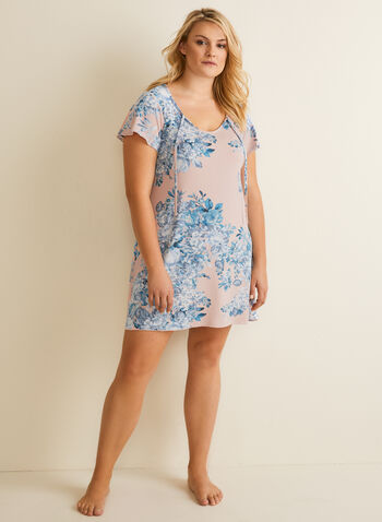 Hamilton - Floral Print Nightgown, Pink,  nightgown, floral, ruffled sleeves, short sleeves, jersey, stretchy, tie neck, spring summer 2020