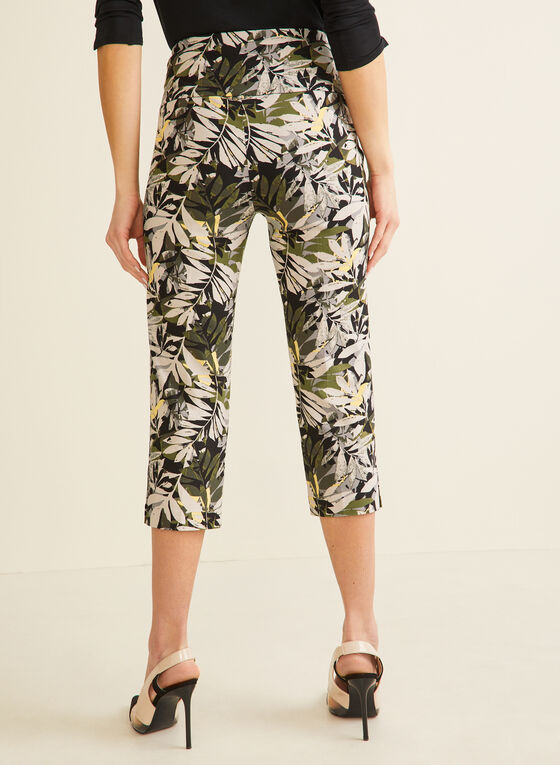 Palm Leaf Print Capri Pants, Black