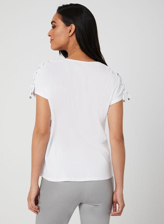 Lace Up Detail T-Shirt, White, hi-res