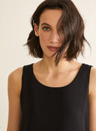Sleeveless Crepe Blouse, Black