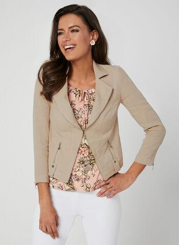 Vex - Blazer à détails zippés, Brun, hi-res,  veste, manches longues, zip, épaulettes, printemps 2019