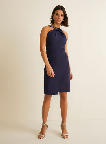 Cleo Neck Cocktail Dress, Blue,  cocktail dress, sleeveless, column, cleo, rhinestones, pleated, wrap, stretchy, spring summer 2020