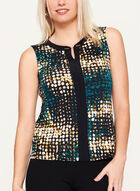 Sleeveless Jersey Dot Print Top , Green, hi-res