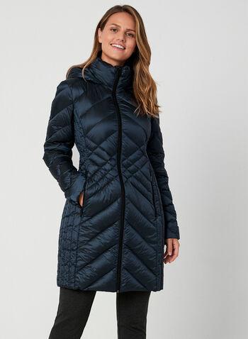 BCBGeneration - Manteau compressible à capuchon, Bleu, hi-res,  automne hiver 2019, BCBGeneration, manteau, duvet, compressible, manches longues