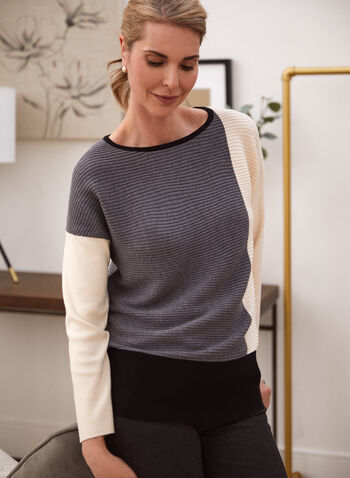 Colour Block Rib Knit Sweater, Grey,  fall winter 2021, sweater, colour block, top, rib knit, layer, ribbed, contrast, scoop neck, boat neck, long sleeve, dolman sleeve, color block, knitwear