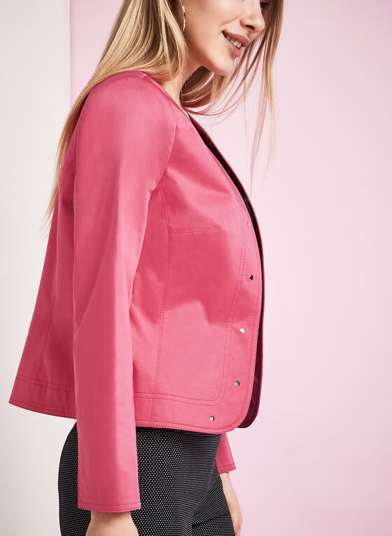 Studded Sateen Jacket, Pink, hi-res
