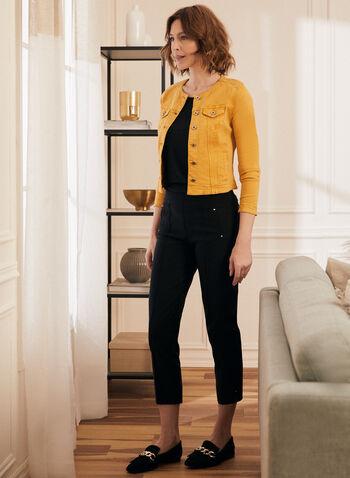 Button Front Denim Jacket, Yellow,  jacket, denim, button front, round collar, pockets, spring summer 2020