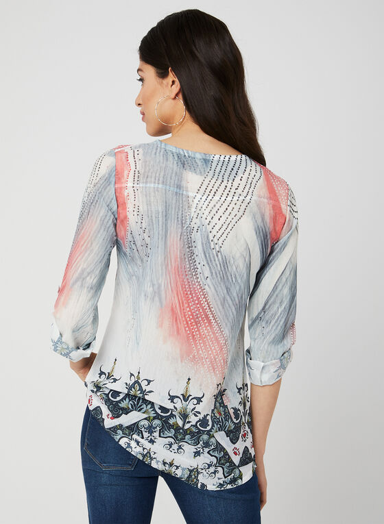 Vex - Abstract Print Blouse, White