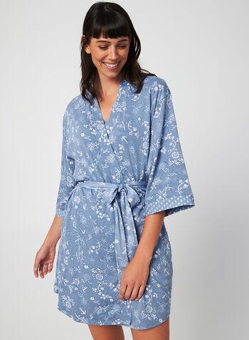 Claudel Lingerie - Lightweight Robe, Blue, hi-res,  robe, sleepwear, floral, fall 2019, winter 2019
