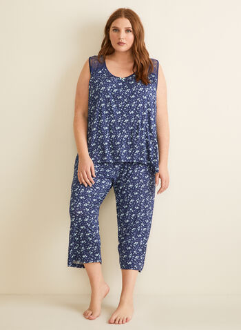 René Rofé - Floral Print Pyjama Set, Blue,  pyjamas, set, top, capris, floral, lace, bow, pull-on, sleeveless, stretchy, spring summer 2020