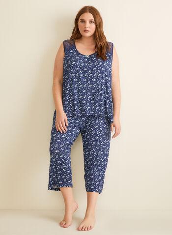 René Rofé - Pyjama 2 pièces motif fleurs, Bleu,  pyjama, deux pièces, capri, débardeur, dentelle, pois, printemps été 2020