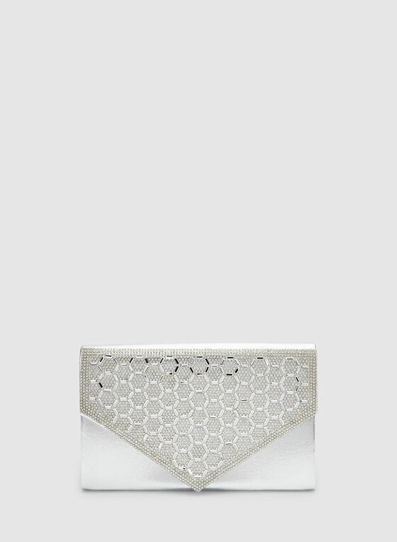 Metallic Envelope Clutch, Silver