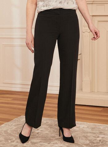 Louben - Pantalon à jambe droite , Noir,  pantalon, costume, jambe droite, plis, bouton, poches décoratives, extensible, fait au Canada, printemps été 2021