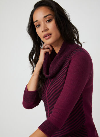 Cowl Neck Sweater, Red,  sweater, knit, 3/4 sleeves, mitered, cowl neck, fall 2019, winter 2019
