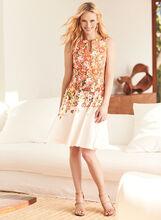 Rose Print Scuba Fit & Flare Dress, , hi-res