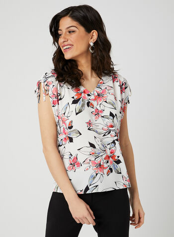 Floral Print Textured Top, White, hi-res