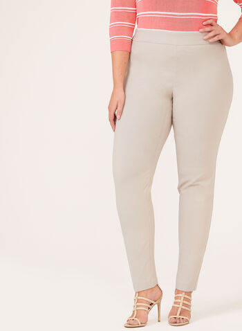 Bengaline Pull-On Straight Leg Pants, Grey, hi-res
