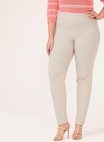 Pantalon pull-on à jambe droite en bengaline, Gris, hi-res