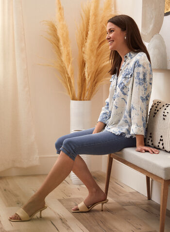 Charlie B - Abstract Print Shirt, Blue,  spring summer 2021, tops, shirts, button up,