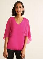 Chiffon Capelet Blouse, Pink