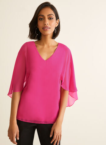 Chiffon Capelet Blouse, Pink,  blouse, capelet, chiffon, jersey, v-neck, spring summer 2020
