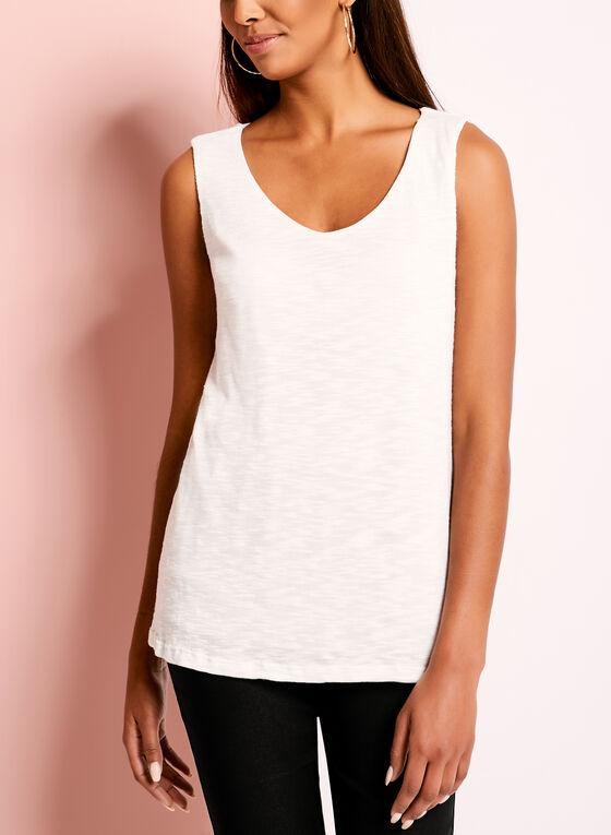 Sleeveless Slub Knit Tank Top, White, hi-res