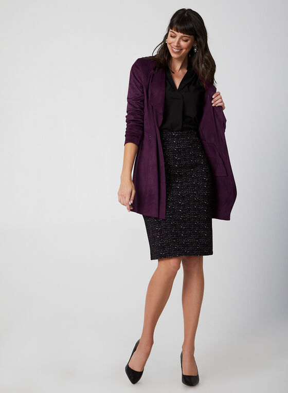 Jacquard Knit Straight Skirt, Purple