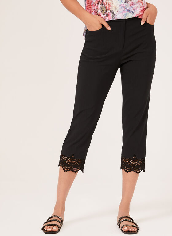 Signature Fit Lace Trim Capris, Black, hi-res