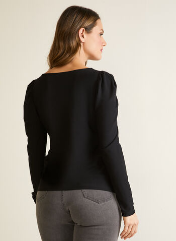 Crepe Top With Puffed Sleeves, Black,  fall winter 2020, made in Canada, long sleeves, boat neck, crepe, holiday, puffed sleeves