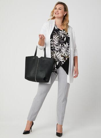 Haut asymétrique à imprimé de feuilles, Noir, hi-res,  palmier, tropical, motif, motifs, manches courtes, blouse, printemps été 2019