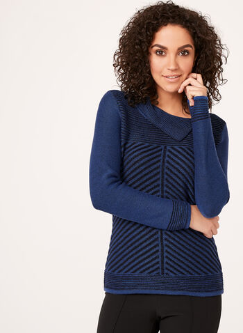 Split Collar Knit Sweater , Blue, hi-res