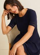 Net Detail Fit & Flare Dress, Blue