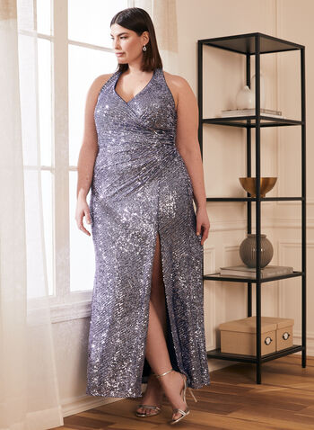 Sequin Halter Gown, Purple,  prom dress, halter, v-neck, sleeveless, sequins, open back, high slit, mesh, a-line, spring summer 2021