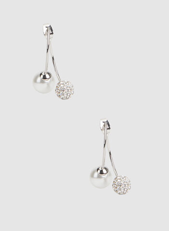 Fireball Bead Pearl Earrings, Off White, hi-res