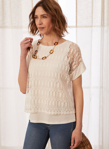 Layered Crochet Top, Off White,  spring summer 2021, tops, tees, blouses, t shirts, t-shirts, knitted, scoop neck, round neck, short sleeves, made in Canada