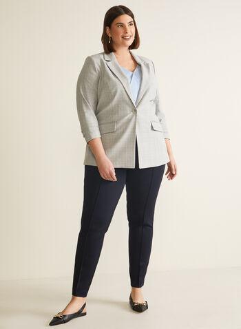Veste motif tartan à manches ¾, Gris,  veste, tartan, manches étagées, col cranté, un bouton, fausses poches, printemps été 2020