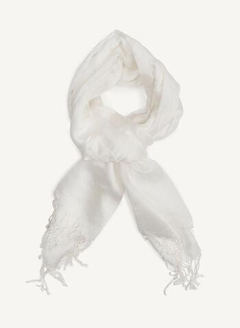 Foulard léger soyeux à franges, Blanc, hi-res