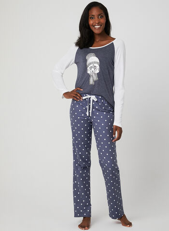 Midnight Maddie - Graphic Print Pyjamas, Grey, hi-res