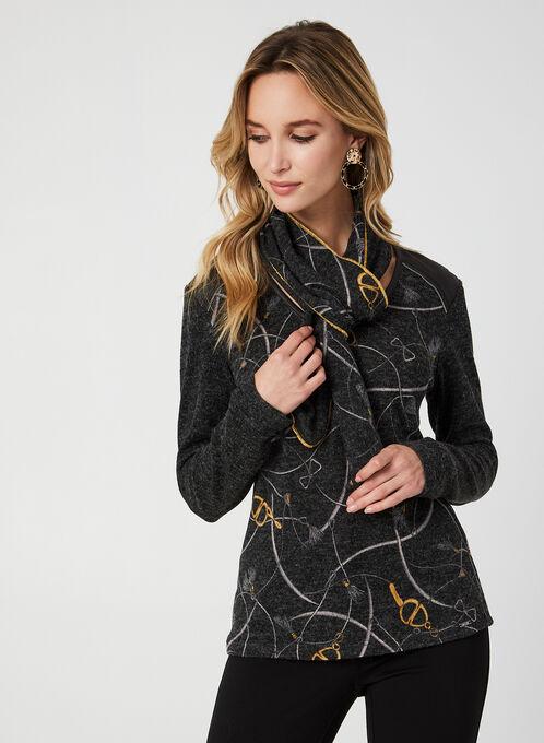 Vex - Haut en tricot imprimé et foulard, Gris, hi-res